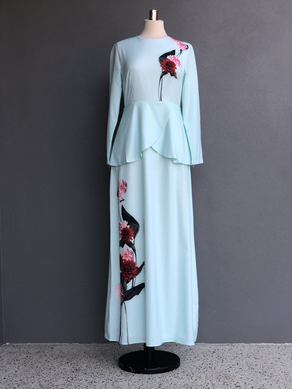 Heliza Peplum Dress in Mint