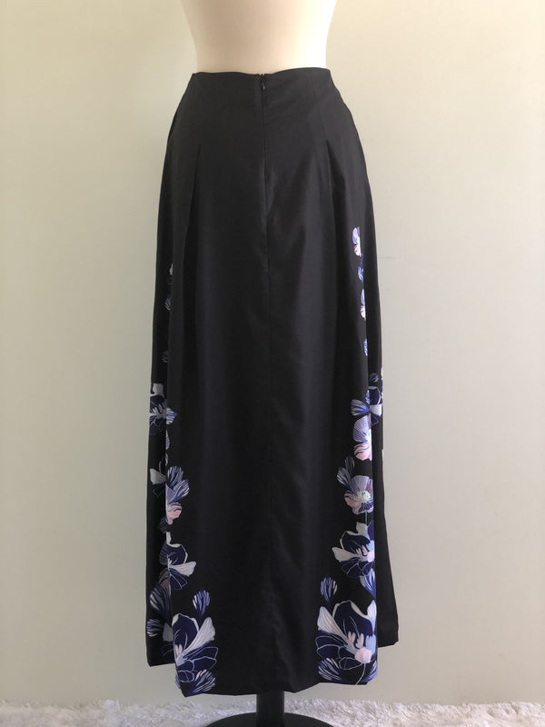 Emilya Skirt in Black with Blue Floral Motif