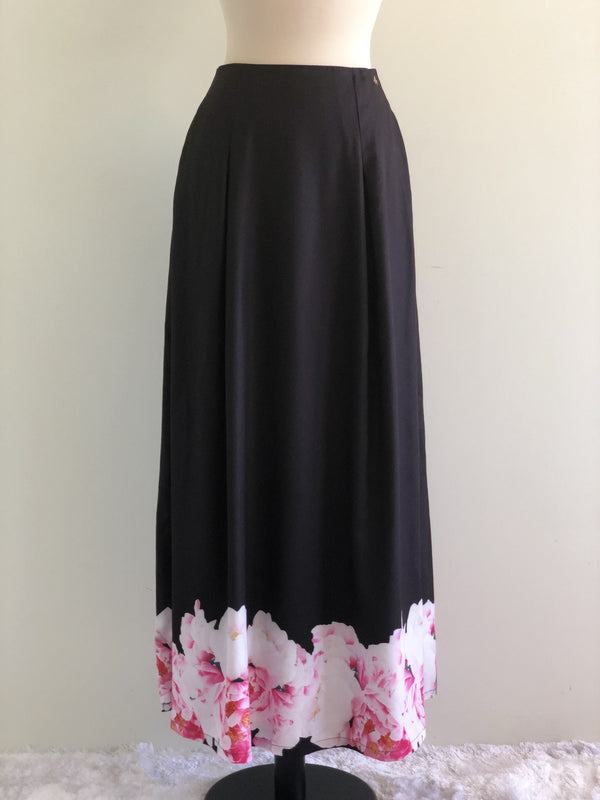 Emilya Skirt in Black with Pink Floral Motif