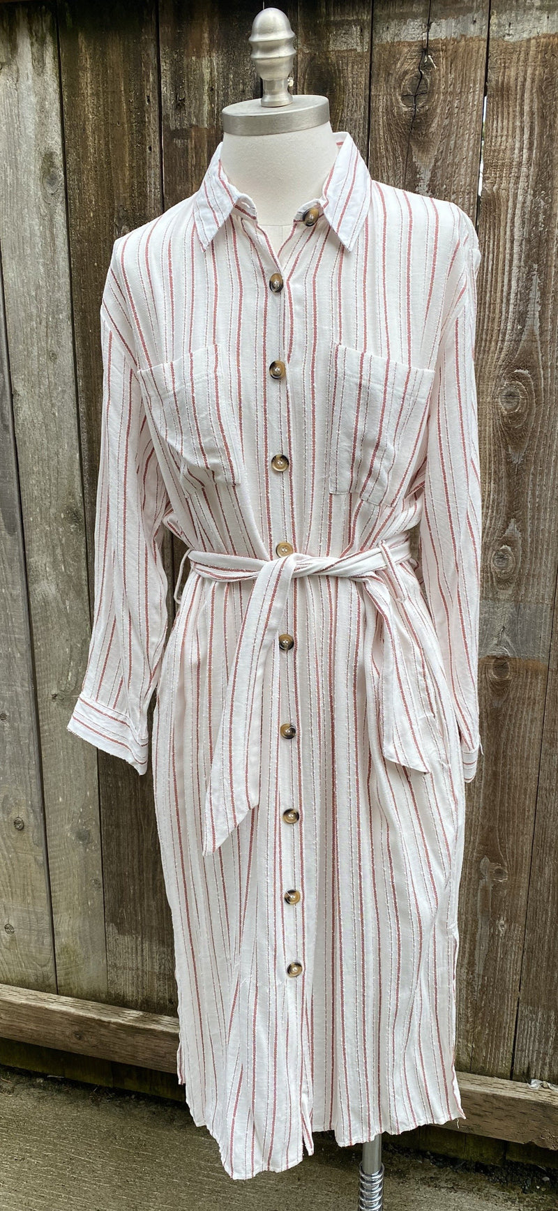 Rayon Pin Striped Shirt Dress