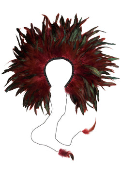 Feather Collar - Maroon