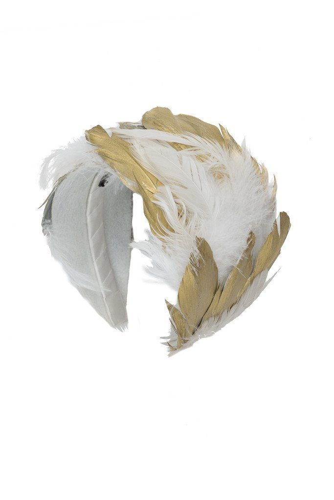 Feather Headband - White/Gold