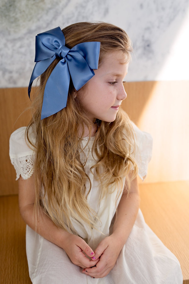 Oversized Bow Pony/Clip - Navy