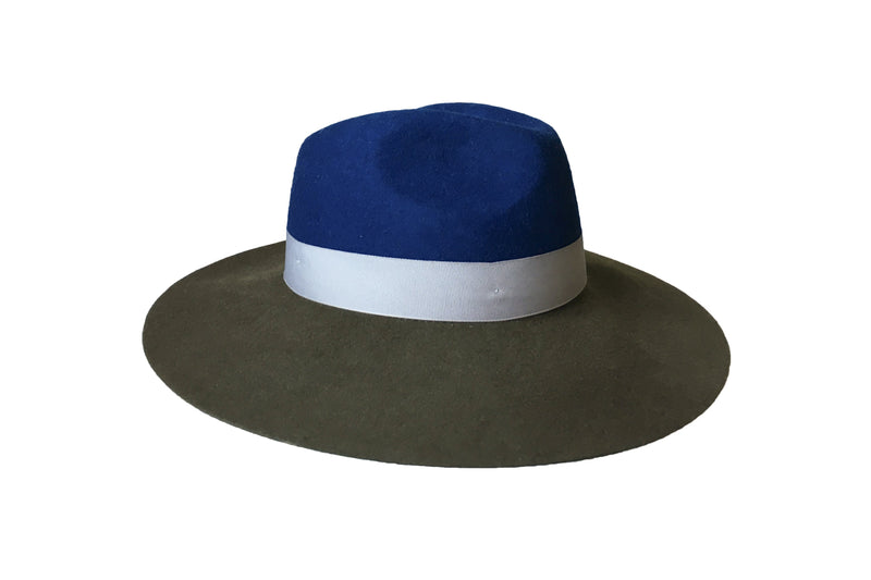 Nurit Hat - Olive/Blue