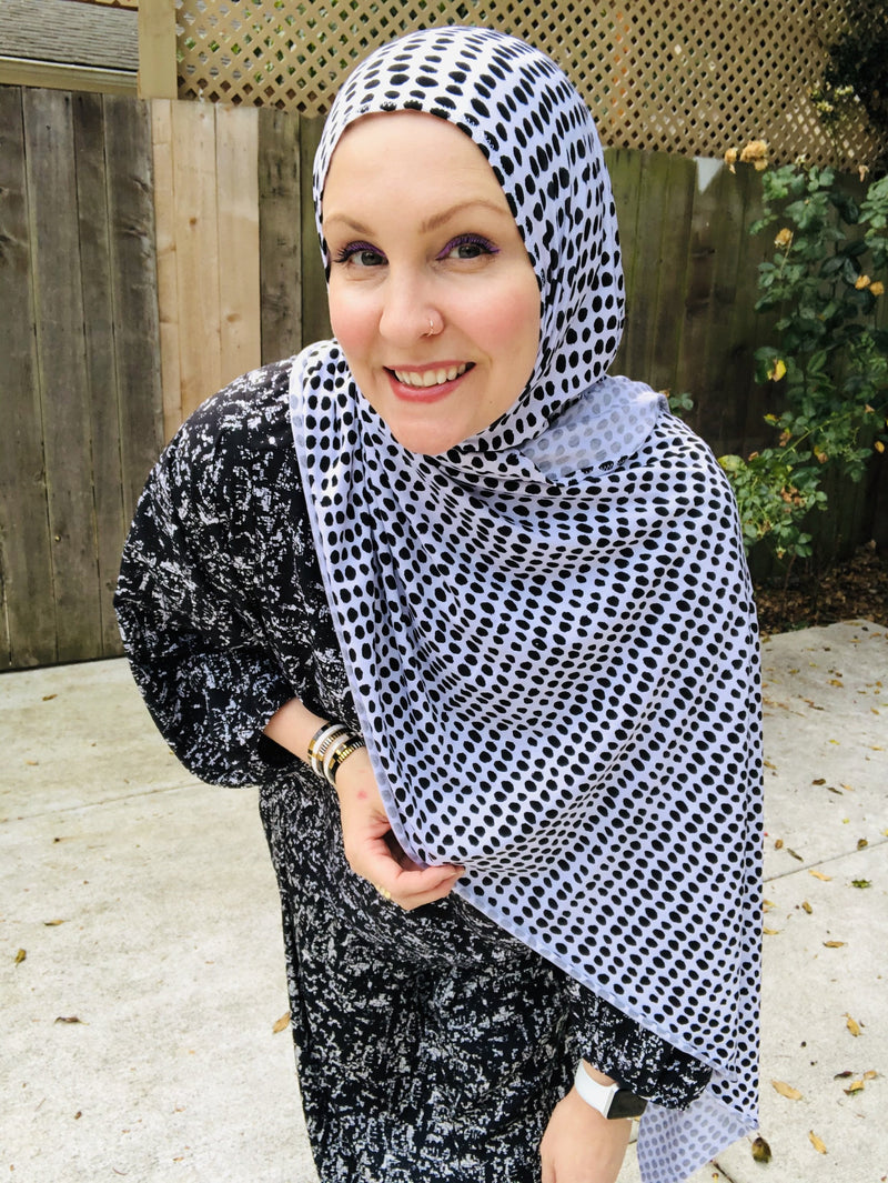 Jersey Hijab - Limited Edition: Slip On - Black on White Dots