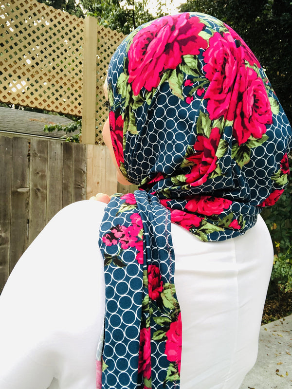 Jersey Hijab - Limited Edition: Slip On - In Bloom in Blue