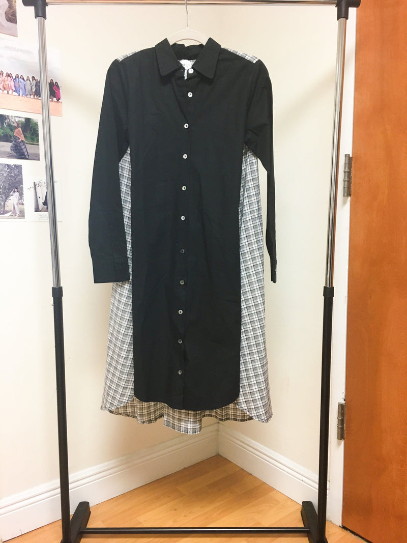 Maaya Short Length - Black/Gingham Poplin