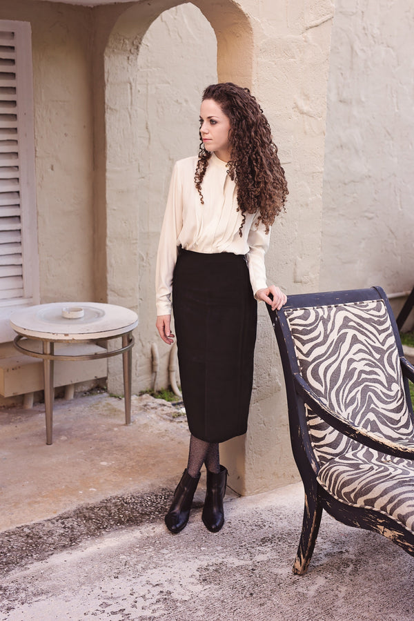 Shira Skirt- Black Seude