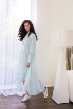 Maaya Long Length - Light Blue Crepe