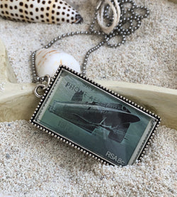 Vintage Stamp Pendant Necklace - Submarine
