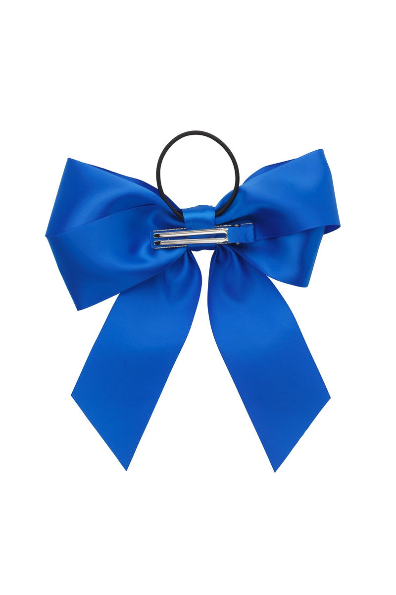 Oversized Bow Pony/Clip - Electric Blue