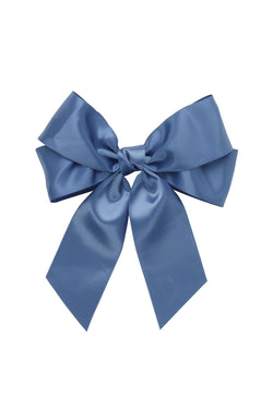 Oversized Bow Pony/Clip  - Smoke Blue