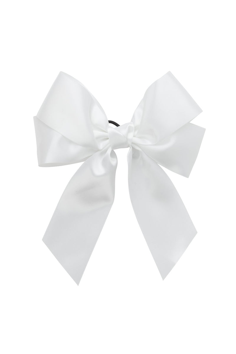 Oversized Bow Pony/Clip - White