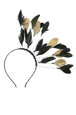 Floating Feathers Headband - Black/Gold