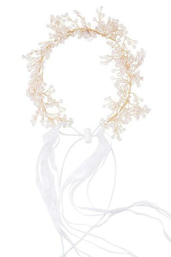 Clustered Wreath - Crystals with White Ribbons