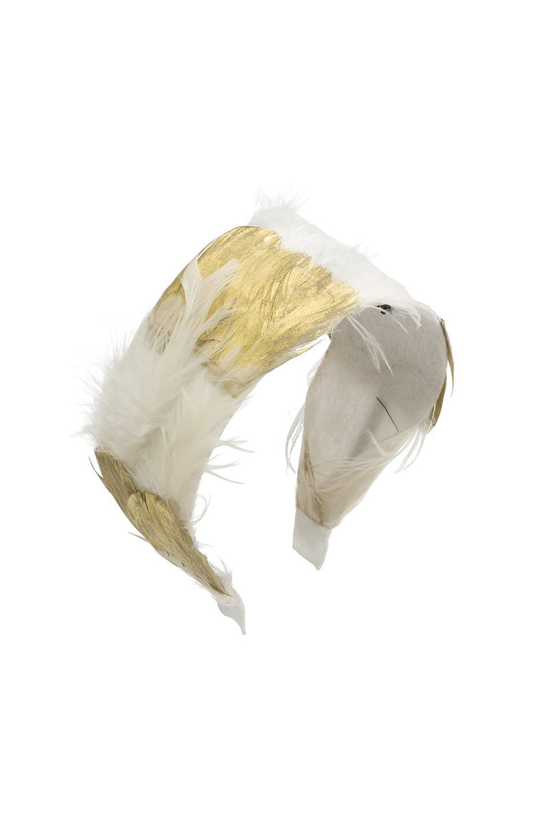 Narrow Feather Headband - White/Gold