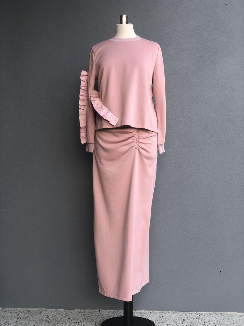 Ribbed Skirt in Mauve