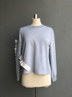 Ruffled Sweater in Grey