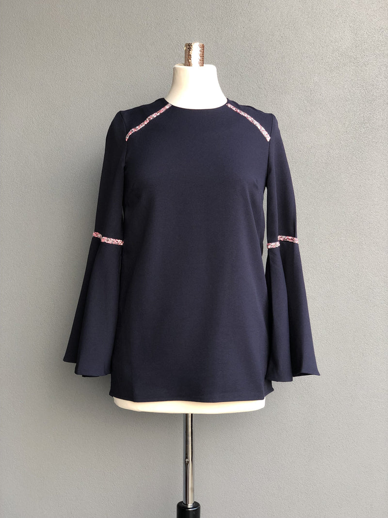 Petunia Peplum Sleeves Top in Navy