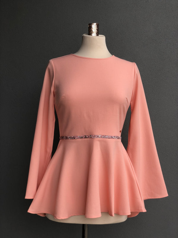 Petunia Peplum Top in Apricot