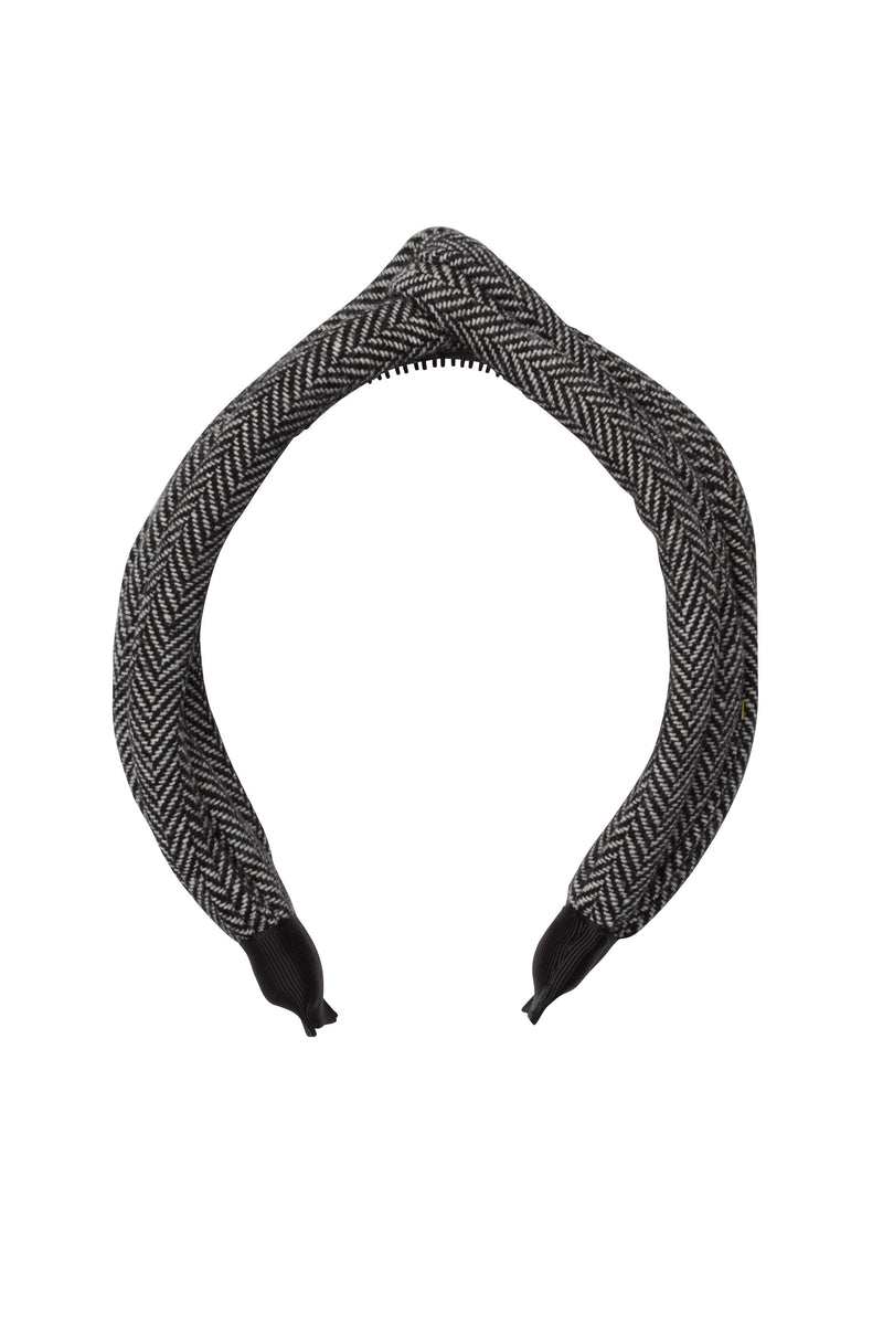 Tubular Herringbone Headband - Black/White