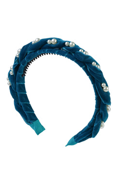 Twisted Pearl Velvet Headband - Turquoise