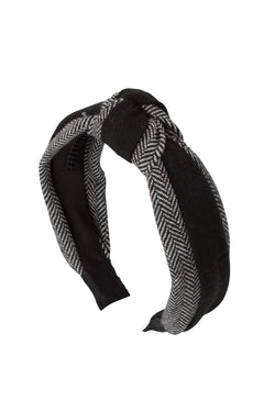 Knot Herringbone Headband - BW/Black
