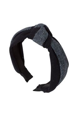 Knot Herringbone Headband - Navy/Light Blue