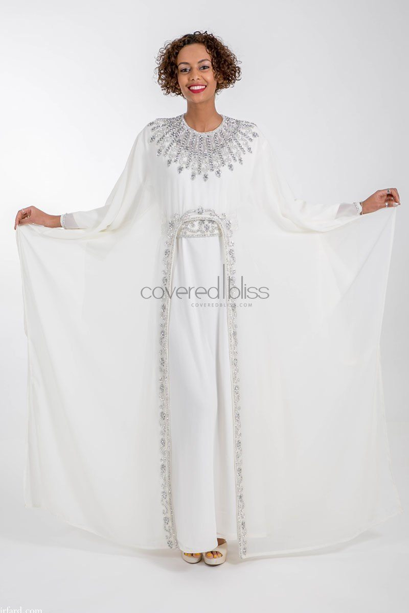 Ariana Silver Embroided Kaftan