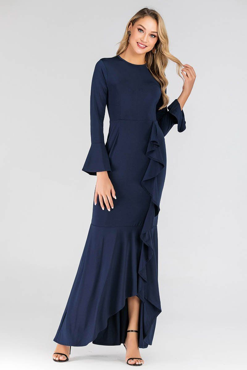 Tanya Ripple Flowy Maxi Dress Navy Blue