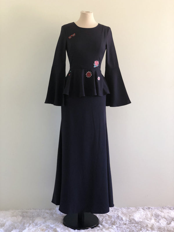 Uqasha Peplum Dress in Navy Blue