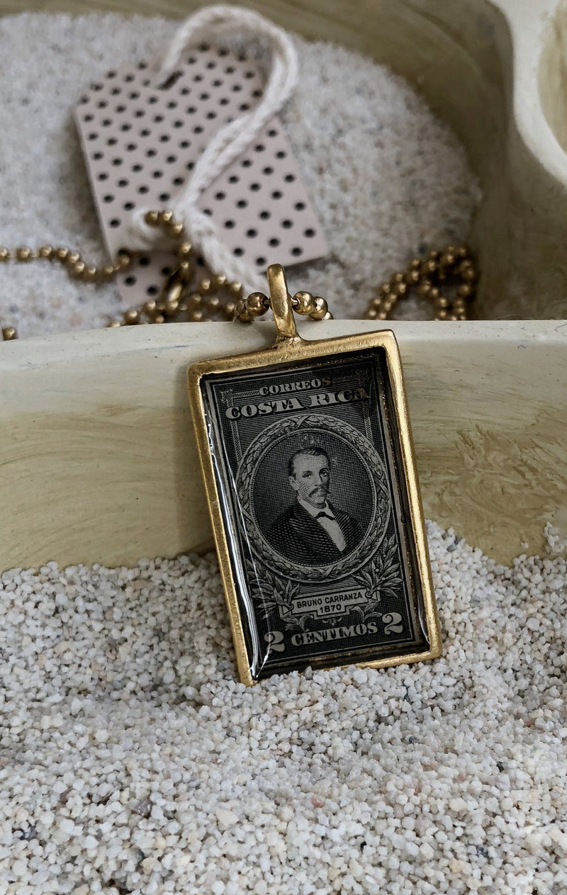 Vintage Stamp Pendant Necklace - Costa Rica