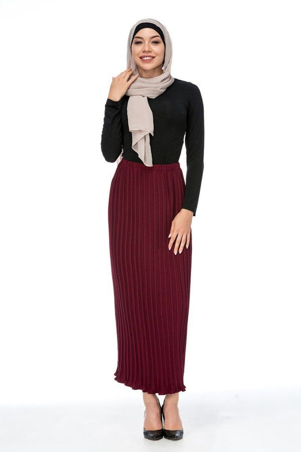 Alef Pleated Skirt Maroon