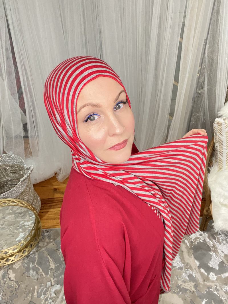 Limited Edition Printed Jersey Hijab: Candy Apple Stripes