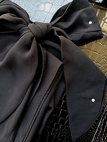Chiffon Bow Square Hijab- Black