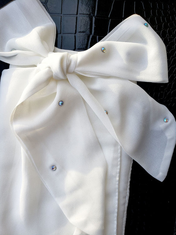 Chiffon Bow Square Hijab-White