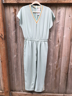 V-Neck Athletic Jumpsuit - Mint