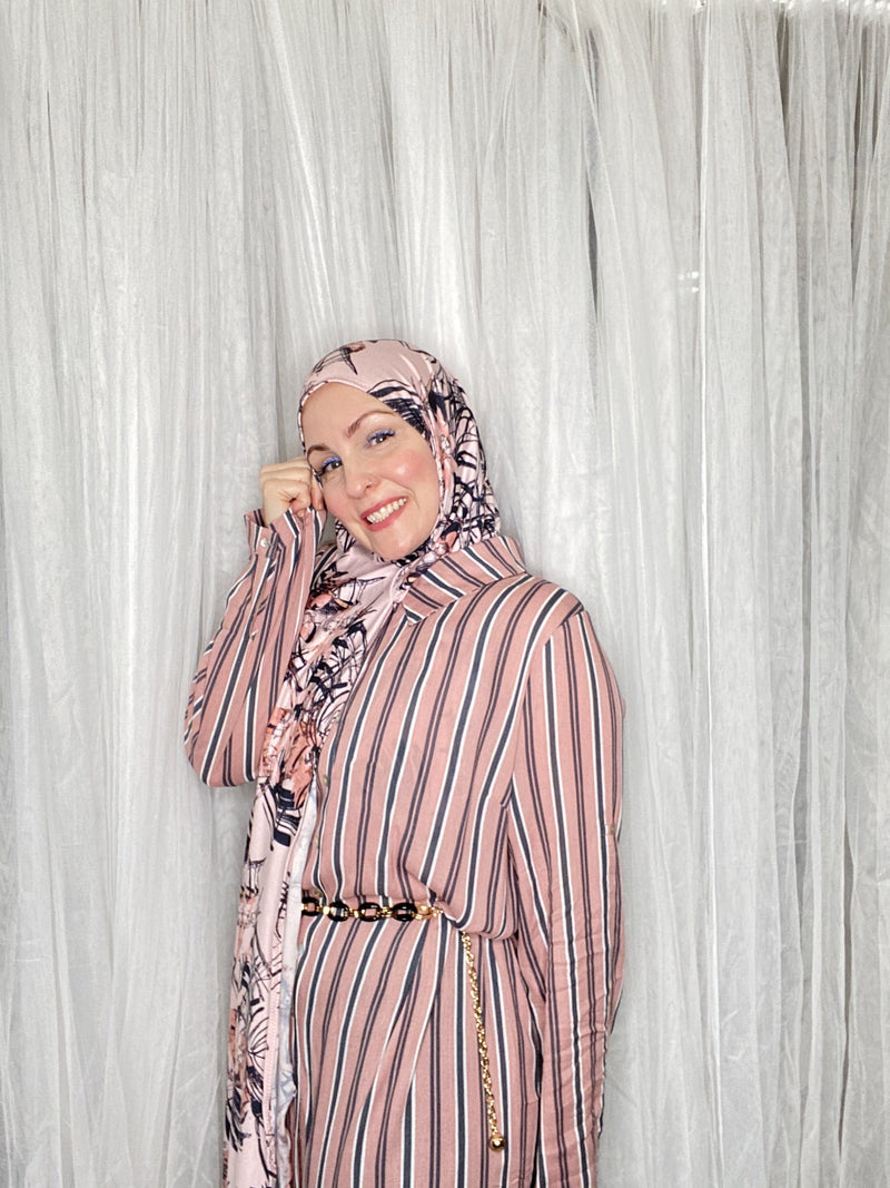Limited Edition Printed Jersey Hijab: Wispy Dusty Rose Palms
