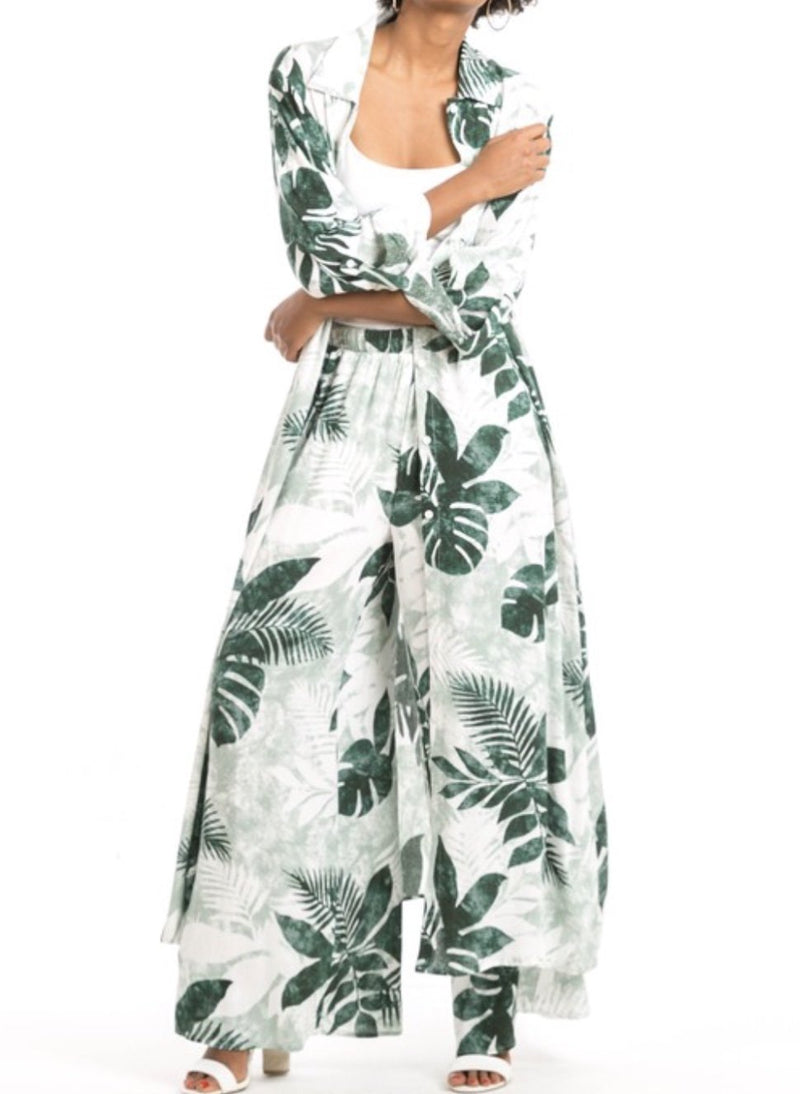 Palm Print Long Shirt Dress