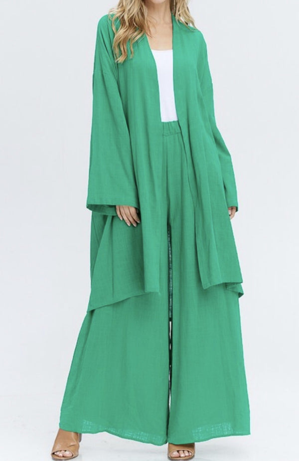 Relaxed High Waisted Palazzos - Verde