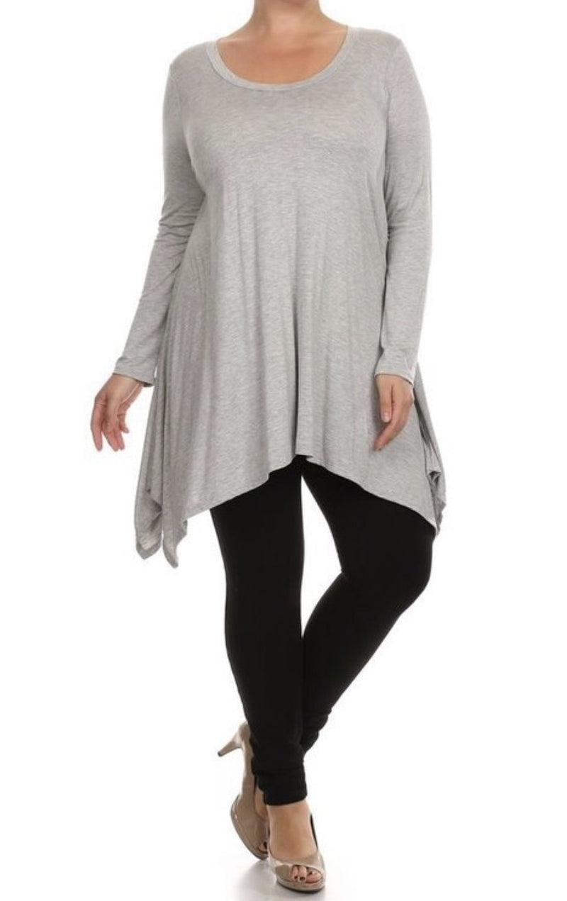 PLUS SIZE - Jersey Asymmetrical Tunic - Heather Grey