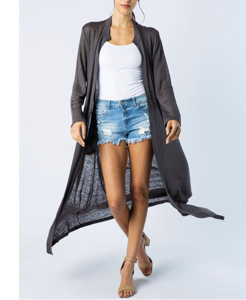 Long Open Duster - Charcoal