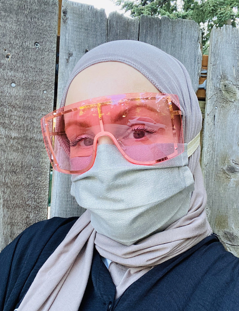 Hijabi Friendly Face Mask - Grey Gold Metallic Lurex