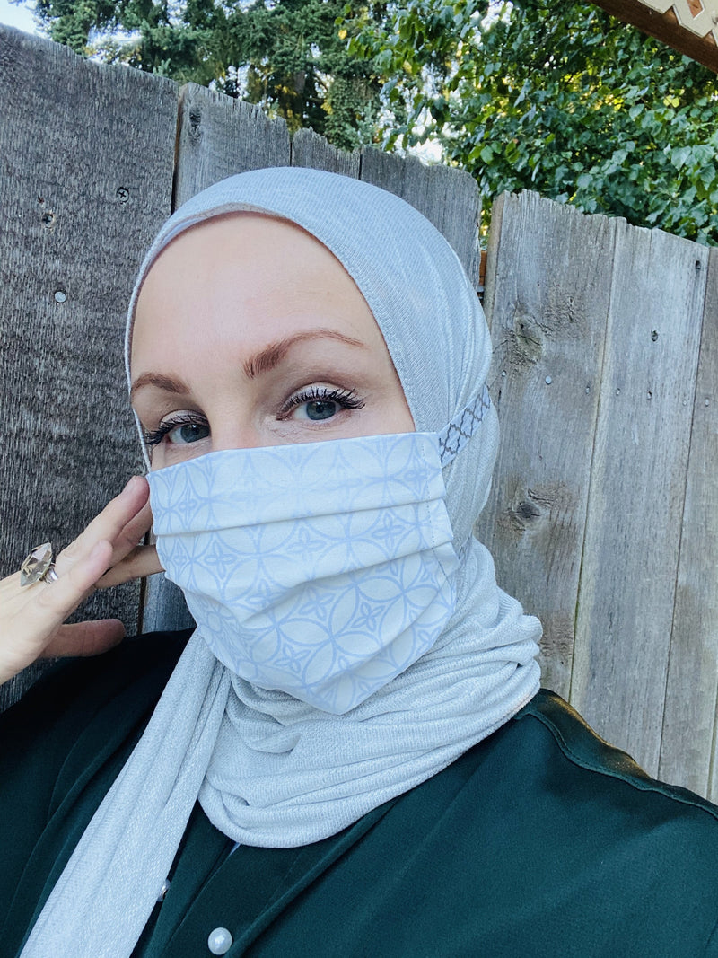 Hijabi Friendly Face Mask - White Moroccan Tiles