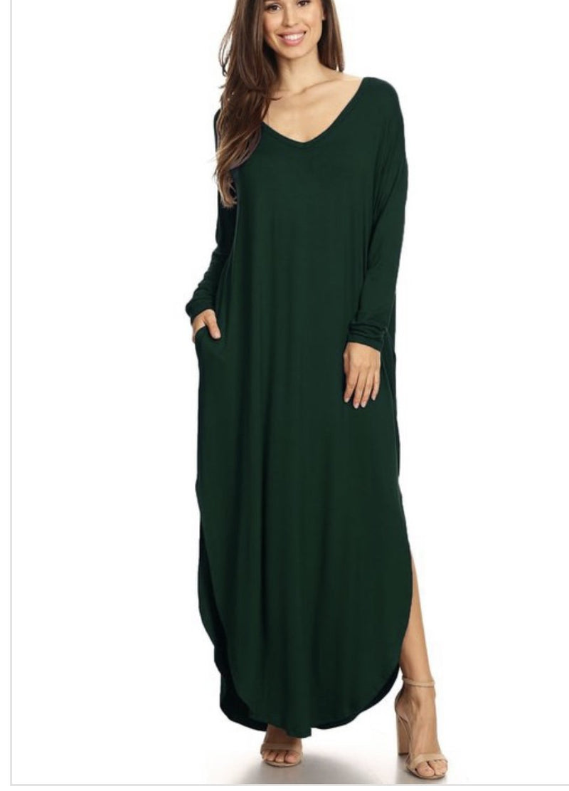 NEW! Light & Long Tunic Dress - Hunter Green