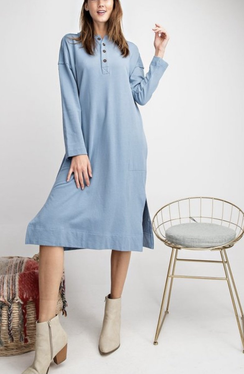 Terry Knit Tunic Dress - Dusty Blue