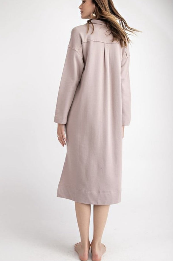Terry Knit Tunic Dress - Light Mauve