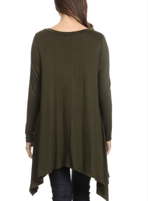 Jersey Asymmetrical Tunic - Olive Green
