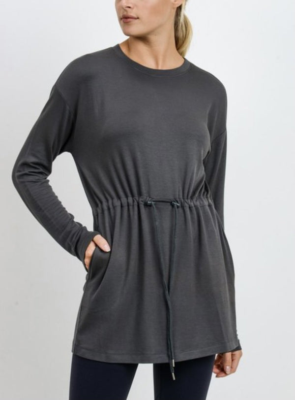 Soft Stretch Knit Tunic Top - Pewter
