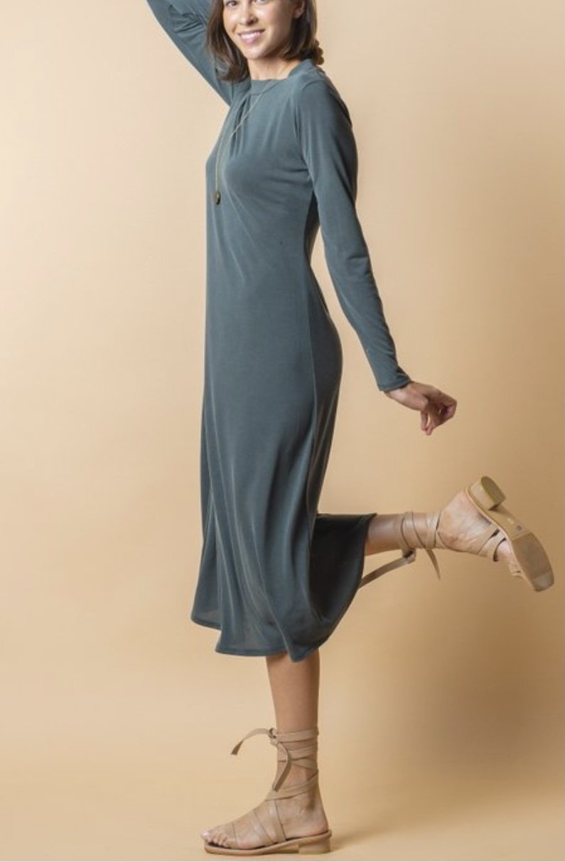 NEW! Flattering Tunic Dress - Greenish Grey